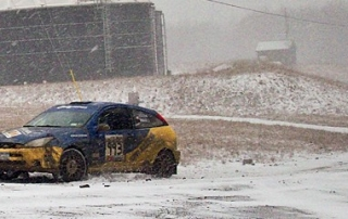 Russ Norten/Phil Barnes took the lead in Group5 in the 2012 Waste Management Winter Rally in their Ford Focus SVT. Credit: WMWR