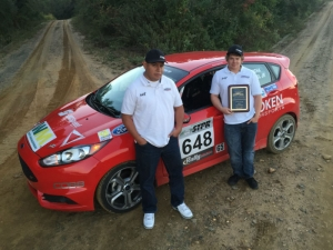 Tuning Velocity Motorsports' Anthony Concha (left) and co-driver Mark Tisdel Jr. (right) took first in class at the 2014 Finger Lakes Regional Rally, part of STPR. (Courtesy of TVM)