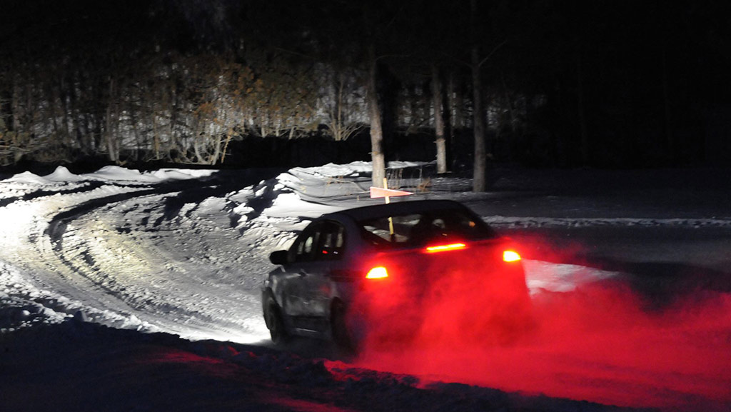 Navigating the snowy roads in the dark can prove to be part of challenging excitement for the competitors. (Tim McBride)