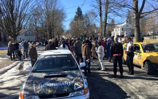 Competitors lined the street at the Parc Expose at The Green in downtown Wellsboro prior to the start of the 2016 Waste Management Winter RallySprint. (Andy Schupack)