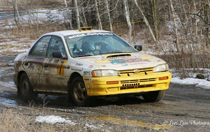 Turner/Rhoads win the 2017 Waste Management Winter RallySprint in a 1994 Subaru Impreza. Photo: © Lori Lass Photography Lori Lass — with Kevin Turner and Matt Rhoads in Wellsboro, Pennsylvania.