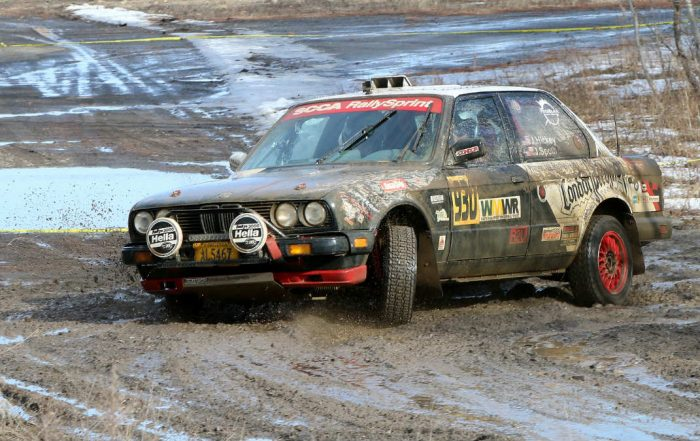 As the temperatures warmed during the day, the ice and snow melted, but Pitchblack Motorsports' John Hickey (Burke, Virginia) with co-driver James Spoth (Frederick, Maryland) took on the mud without hesitation at the 2017 Waste Management Winter RallySprint 2017. (Lori Lass Photography)