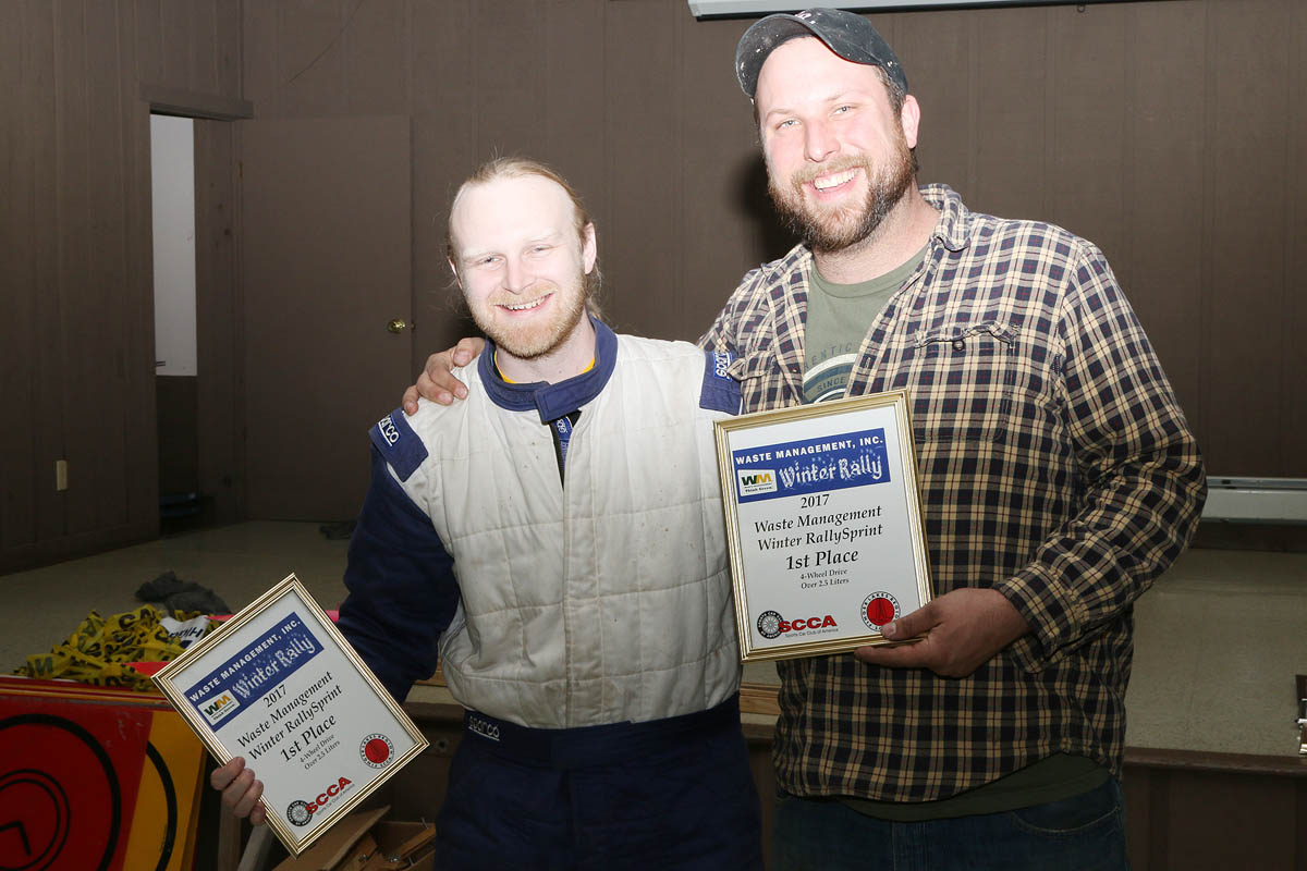 Pete Sandy/Moosic, PA (L) and driver Matt Chmielewski/Harvey's Lake, PA, took 1st in the R4O class (#949/2002 Subaru Impreza WRX) in their first competition. (Lori Lass)