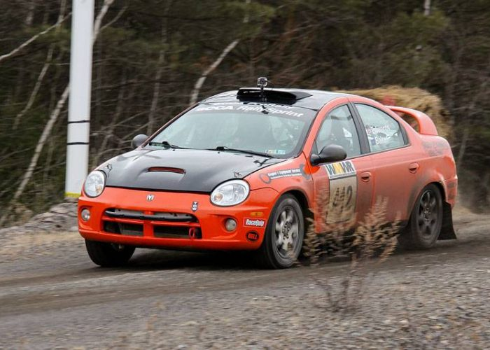 Alan Edwards, from Carnegie, Penn. and Daniel Baker, from Port Allegheny, Penn. in their Dodge Neon, were third overall and second in R2U. (Lori Lass)
