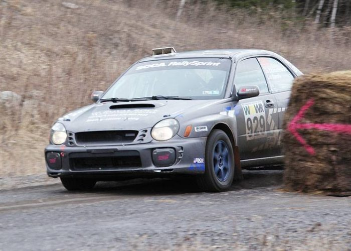 Overall winners Matthew Chmielewski, from Harvey's Lake, Penn. and co-driver Pete Sandy, from Moodic, Penn., negotiate the new hay bales in their #929 Subaru Impreza. The hay bales were added as RallySprint does not allow jumps, and the STPR spectator area would normally see cars with wheels off the ground. (Lori Lass)