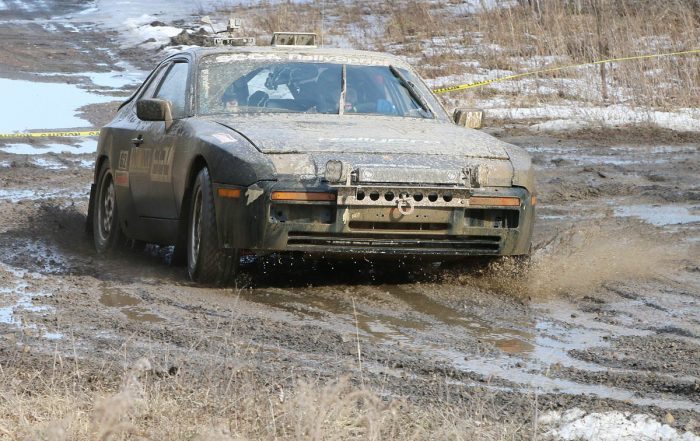 Robert Pepper plows through the mud at the 2017 Waste Management Winter RallySprint piloting a 1988 Porsche 944 S2. Temperatures in the 60s created a messy course. (Lori Lass)